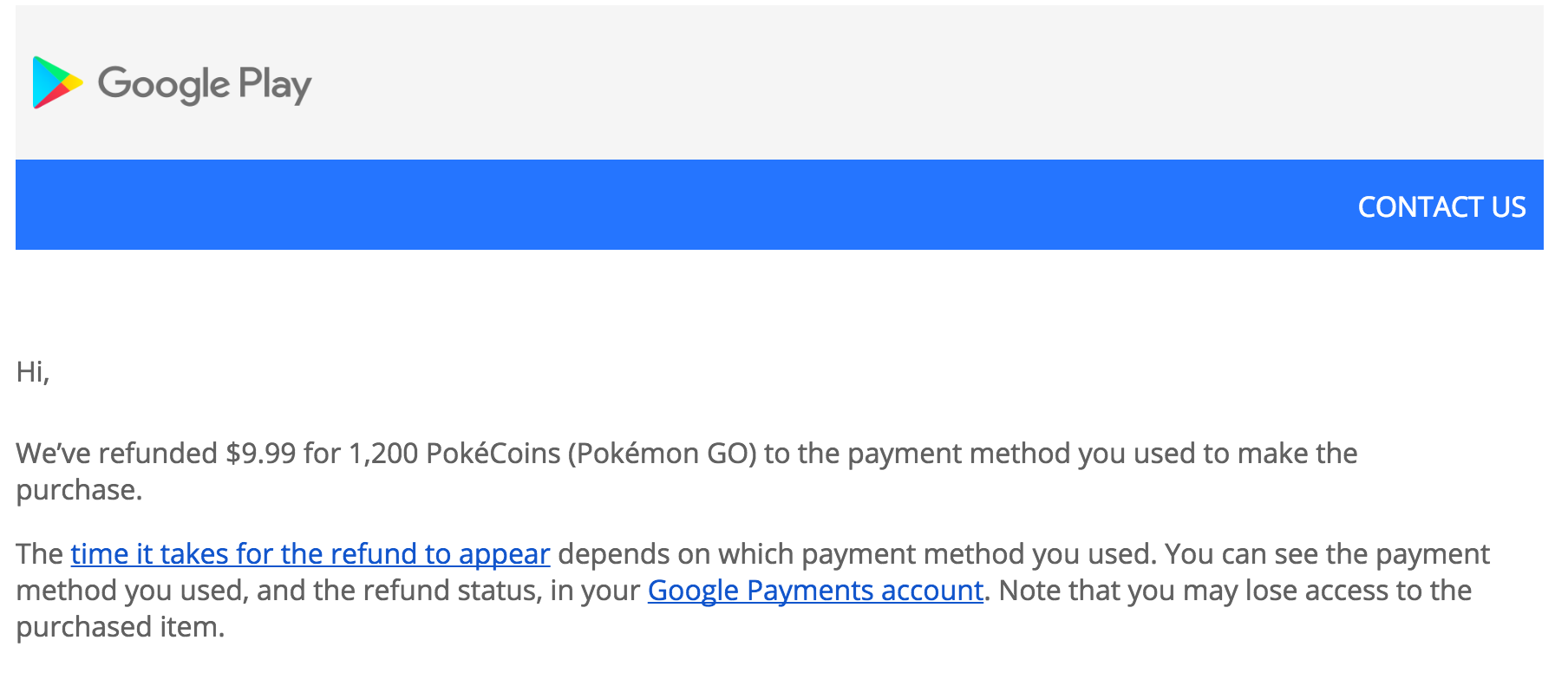 Pokemon GO Google Play Refunds
