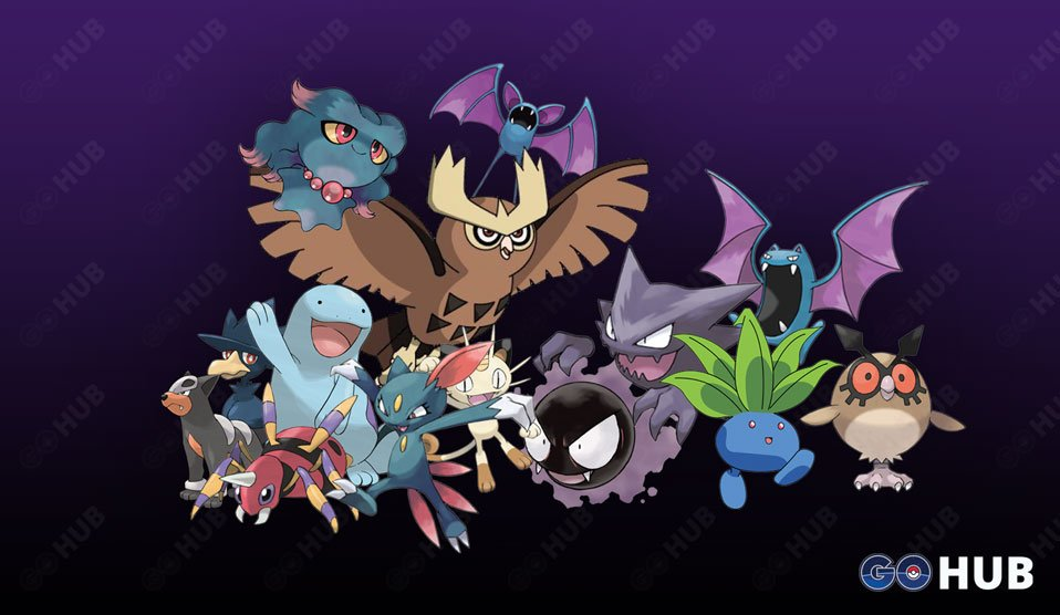Nocturnal species of Pokémon GO (Generation 1, 2 and 3