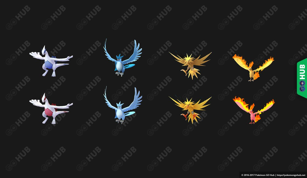 Leaked models of normal and shiny Legendary Pokemon