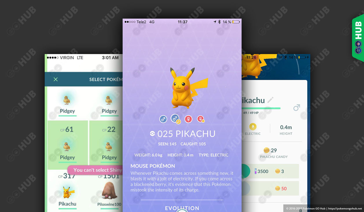 Shiny Pikachu Pokemon GO