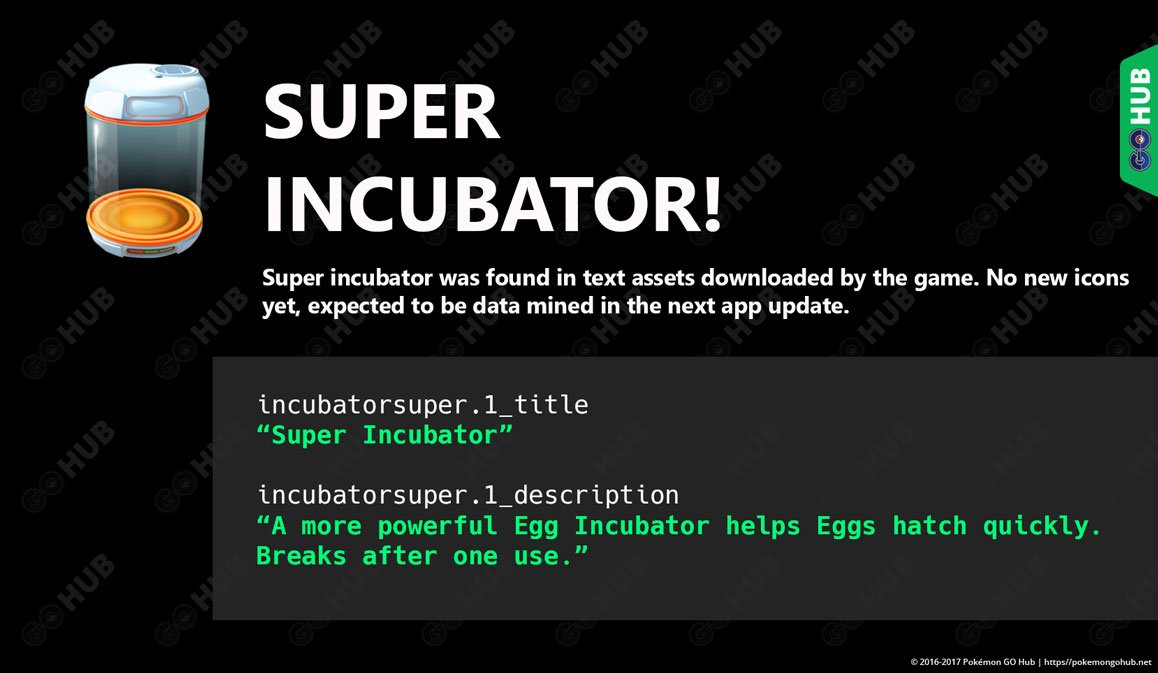 Super Incubator found in Pokemon GO