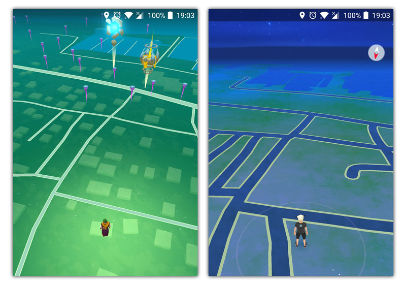Rural game play comparison: Draconius GO (left) vs Pokemon GO (right)