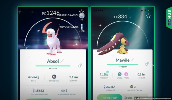 Shiny Saville and Absol Pokemon Go