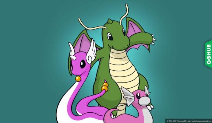 Shiny Dratini, Dragonair and Dragonite in Pokémon GO