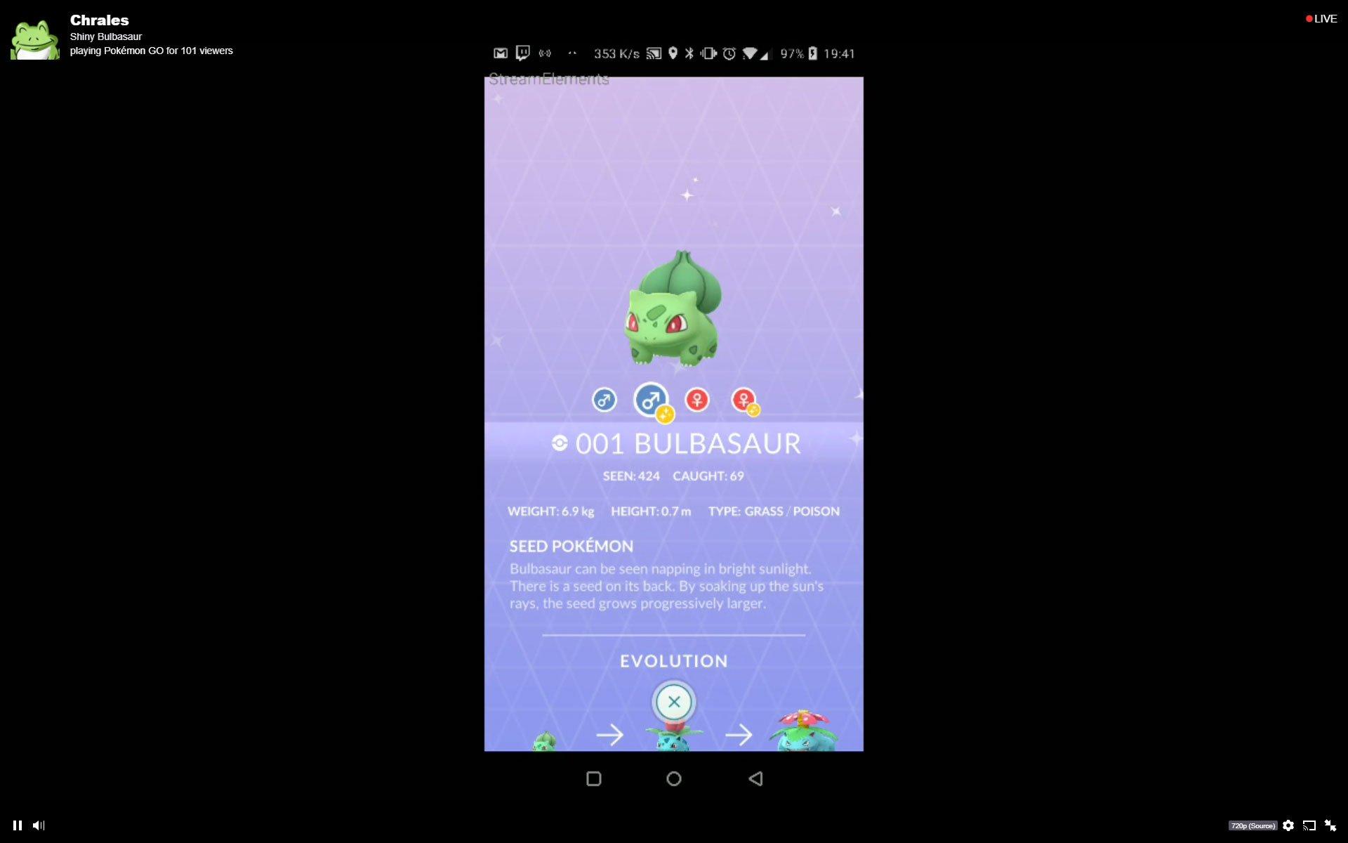 Shiny Bulbasaur Pokemon GO