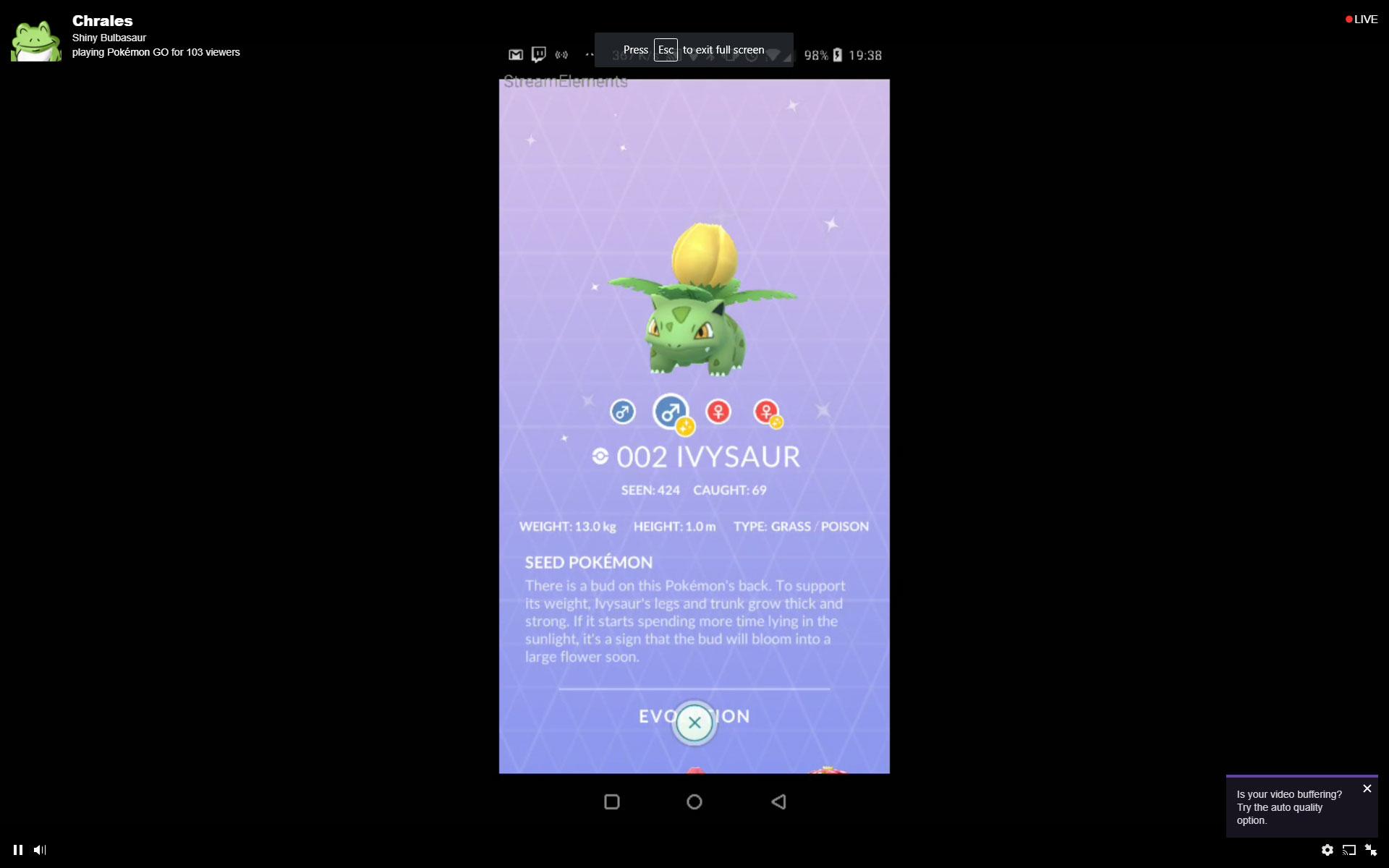 Shiny Ivysaur Pokemon GO