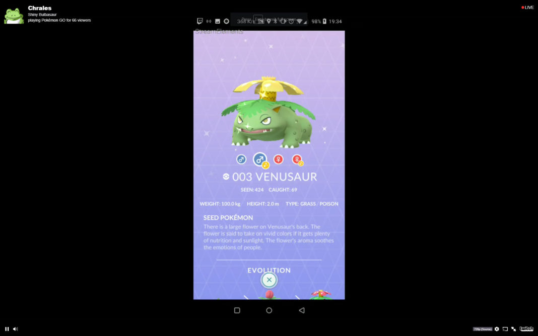 Shiny Venusaur Pokemon GO