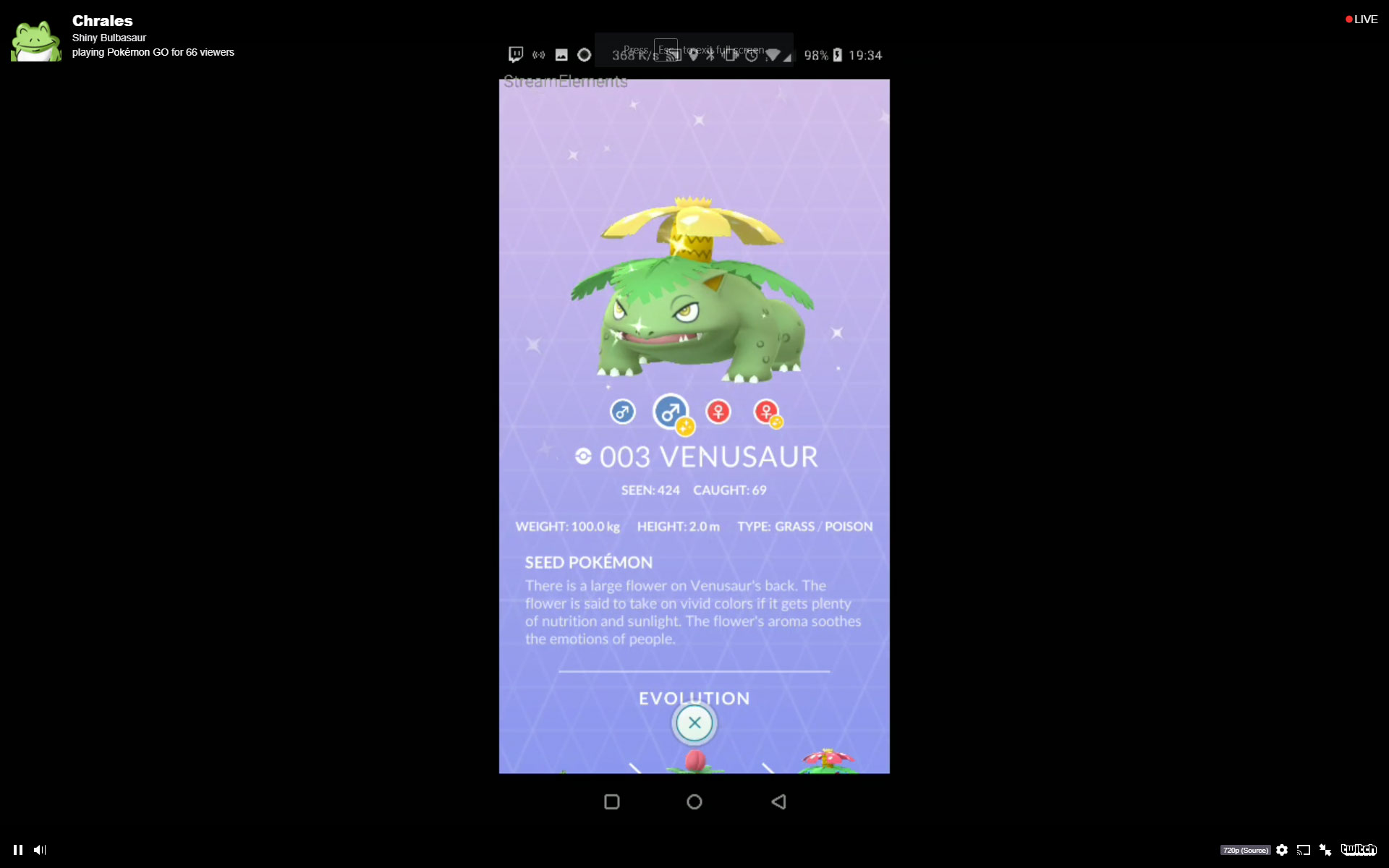 Shiny Venusaur Pokemon GO