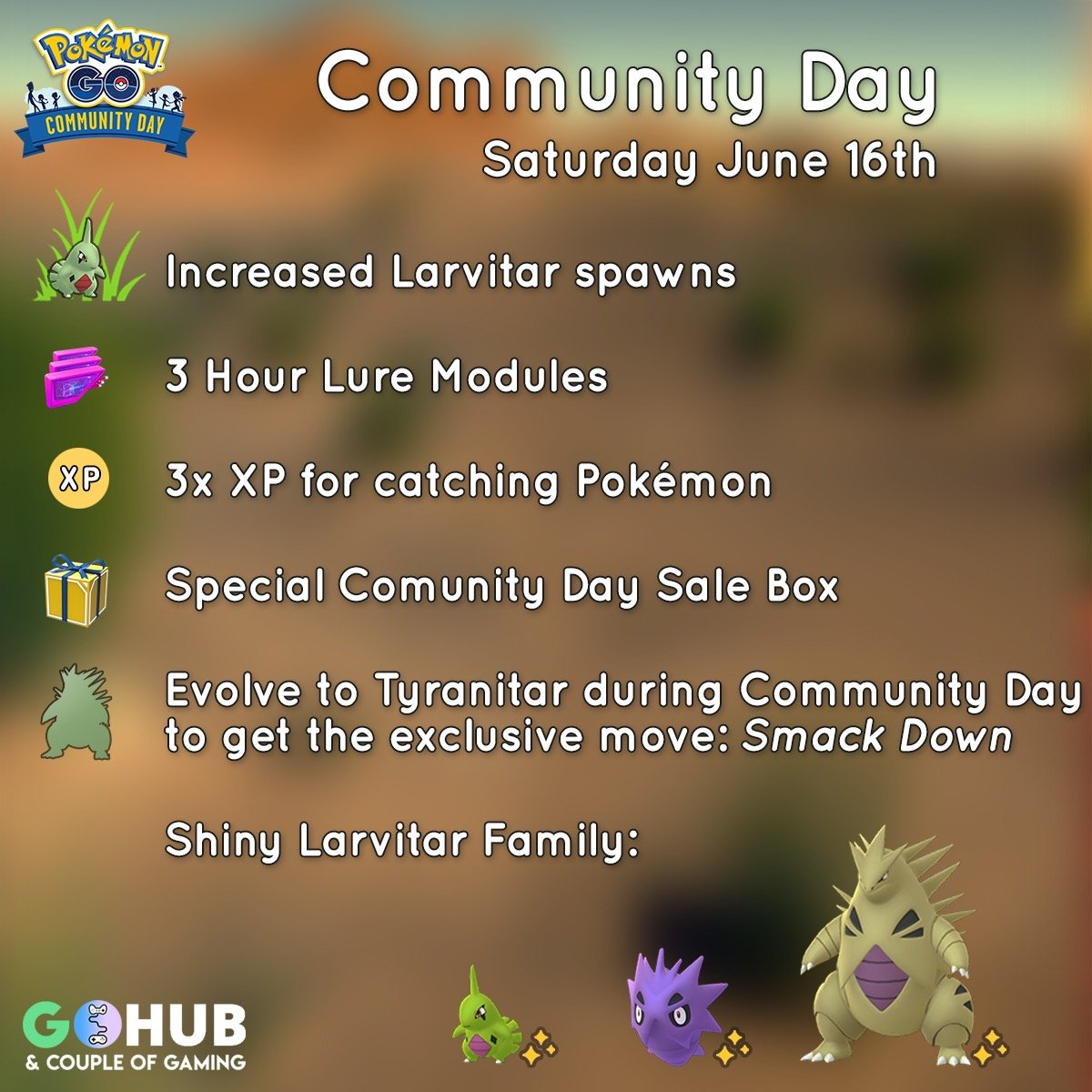 Larvitar June Community Day Guide: Smack Down, catch rates