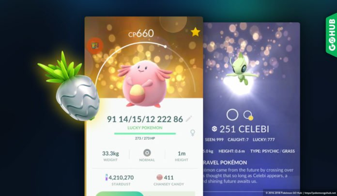 Lucky Pokemon, Celebi, Silver Pinap Berry
