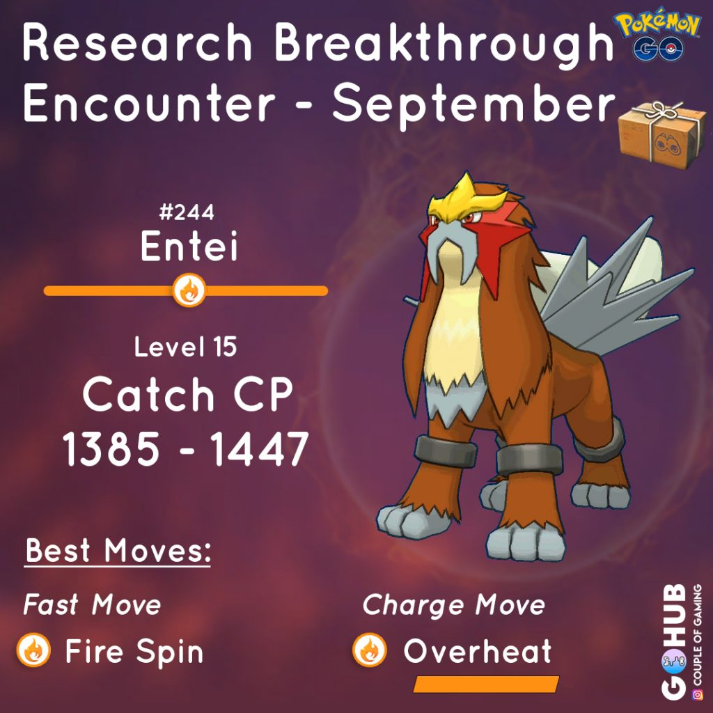 Entei quest reward, Entei Field Research Breakthrough September