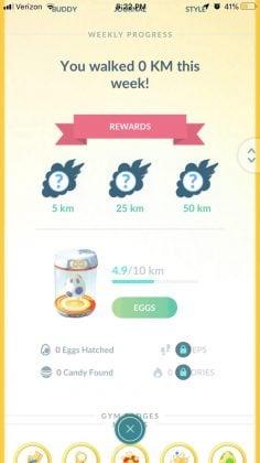 Adventure Sync UI on Pokemon GO player profile