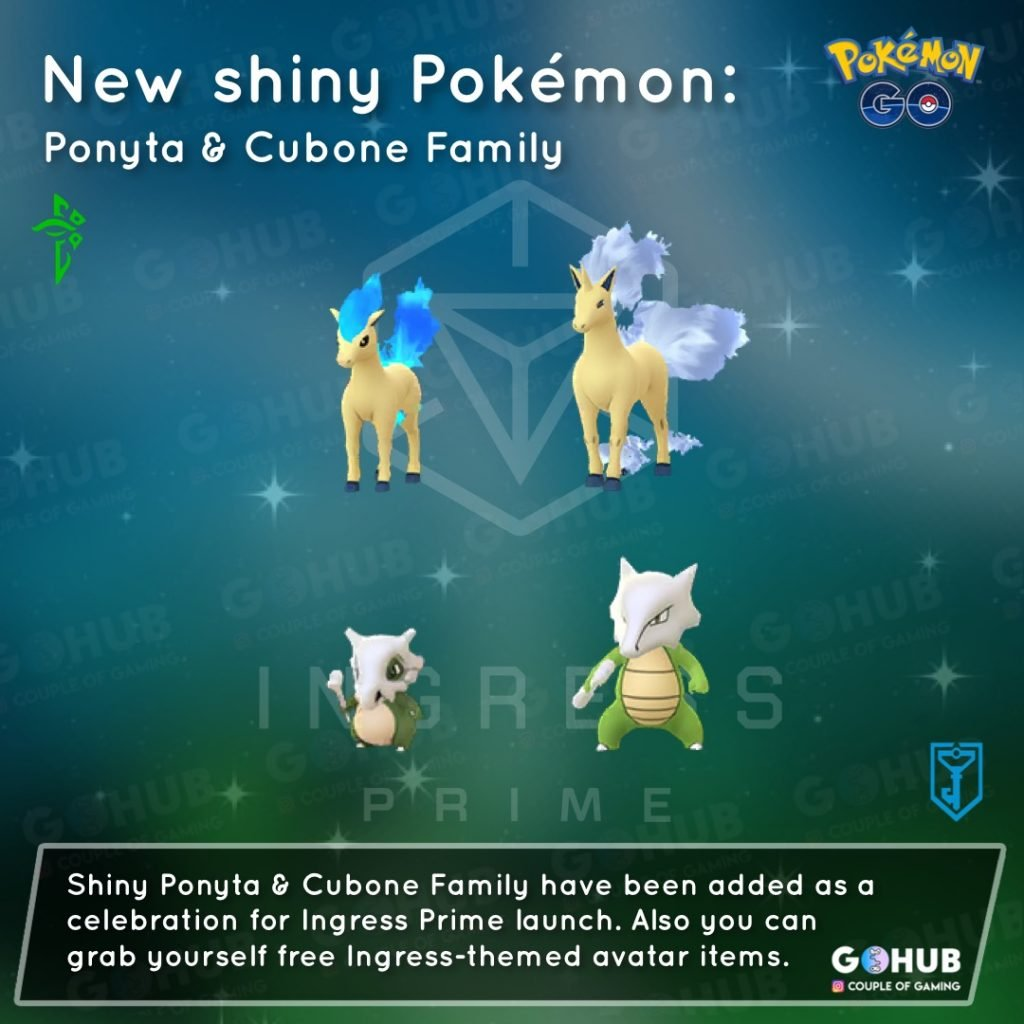 Shiny Ponyta, Rapidash, Cubone and Marowak