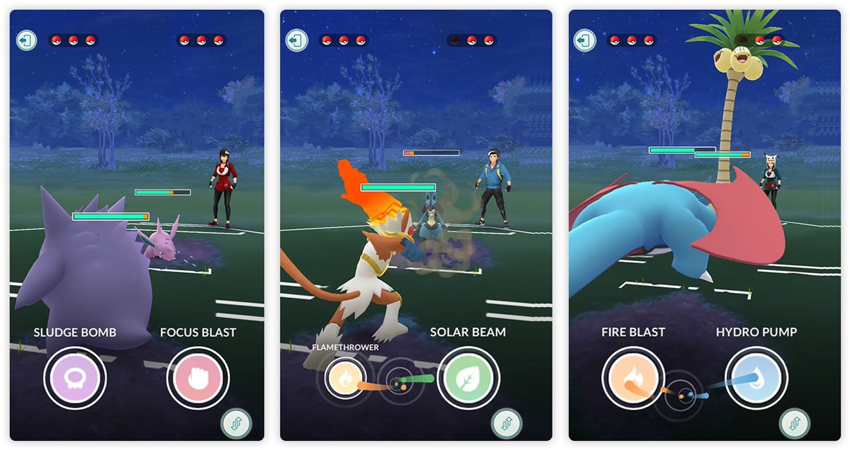 PvP Problems and Solutions - screenshots of Pokémon Go Trainer Battles in progress
