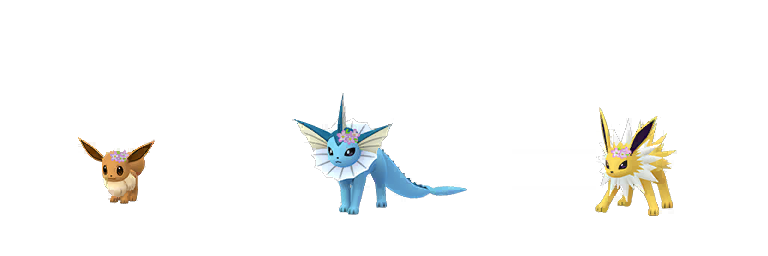 Floral crown Eevee, Vaporeon and Jolteon