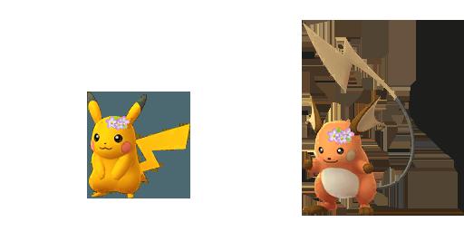 Shiny floral crown Pikachu and Raichu