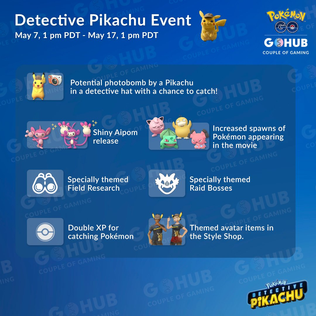Detective Pikachu Event Raids Field Research And New Shiny Pokemon Go Hub