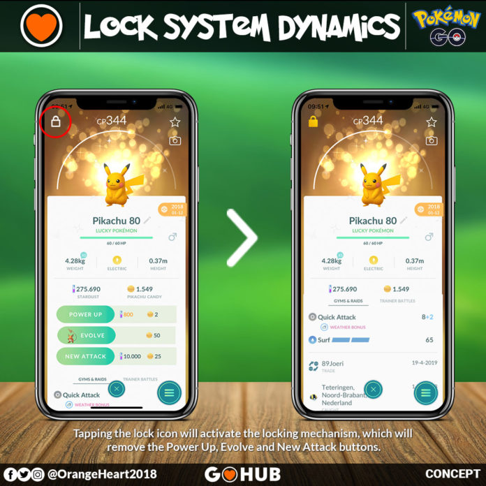 Pokemon Locking idea in Pokemon GO