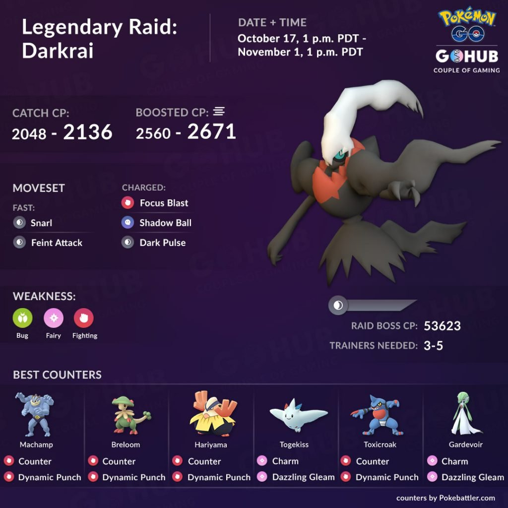 Darkrai counters in Pokemon GO