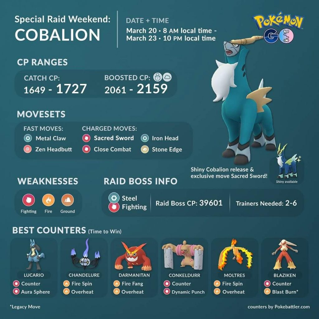The best Cobalion raid counters are Lucario, Chandelure, Darmanitan, Conkeldurr, Machamp, Blaziken and Moltres