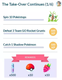 First task set: Spin 10 pokestops, defeat 3 Team GO Rocket Grunts, and Catch 1 Shadow Pokemon
