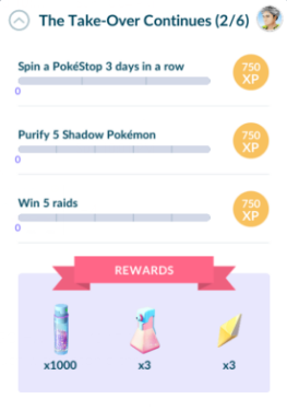 Second task set: Spin a Pokestop 3 days in a row, Purify 5 Shadow Pokemon, Win 5 raids