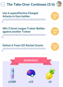 Third set of tasks: Use 6 supereffective Charged Attacks in Gym battles, Win 3 Great League Trainer Battles, Defeat 6 Team GO Rocket Grunts