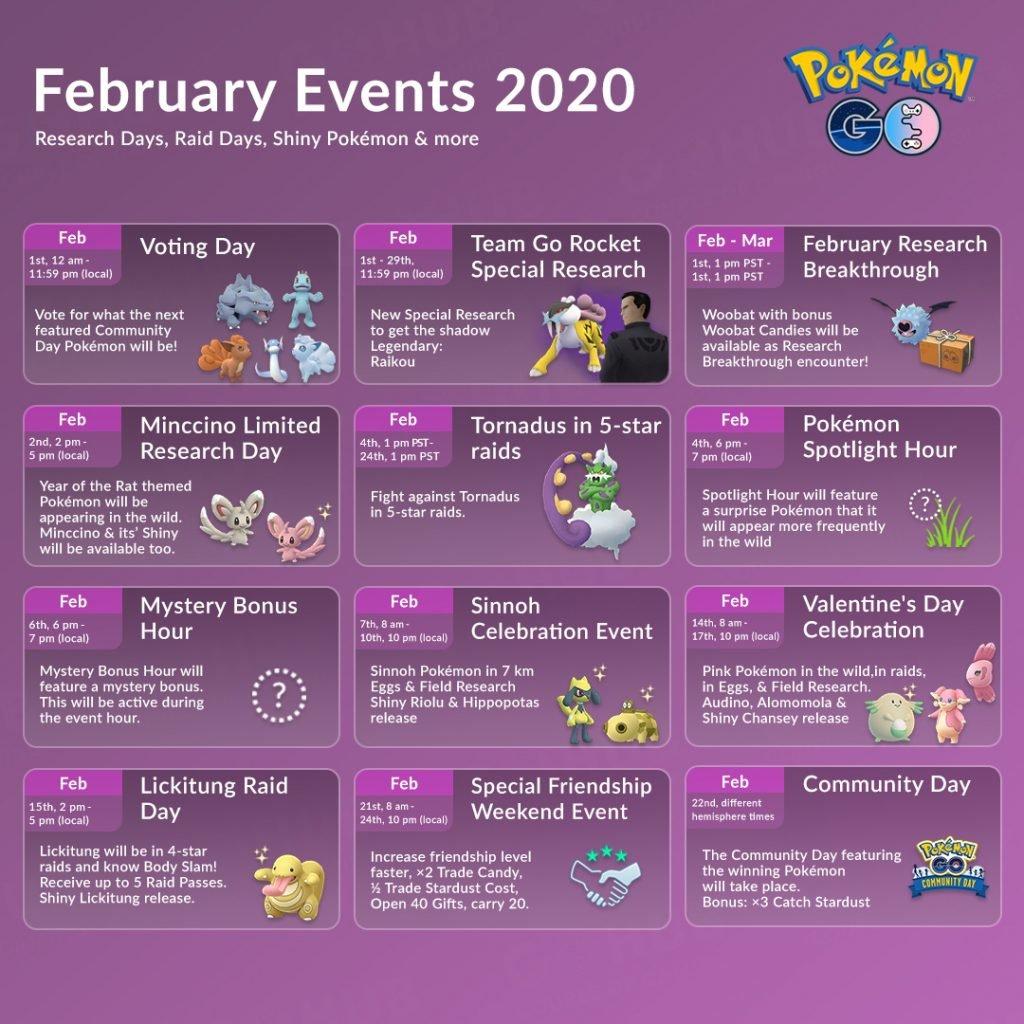February 2020 Pokémon GO Events