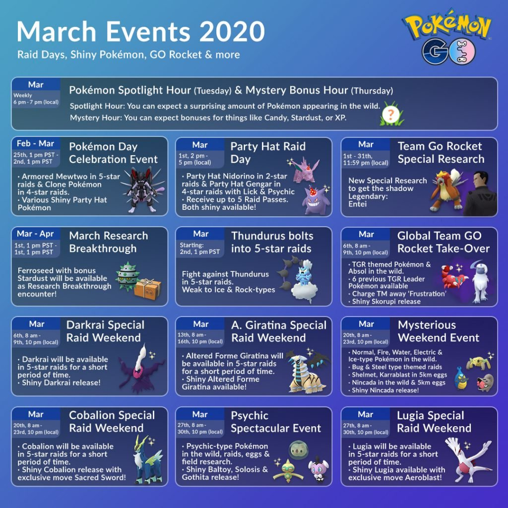 March Events in Pokemon GO