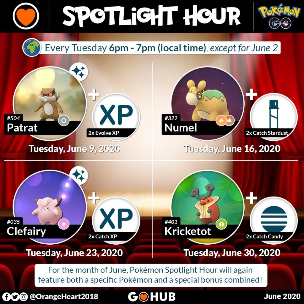 June Pokémon Spotlight hours