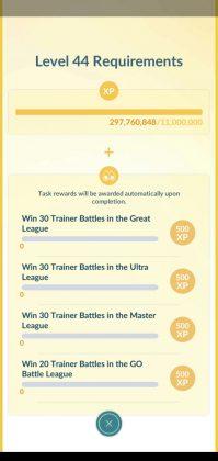 Pokémon GO Level 44 Requirements