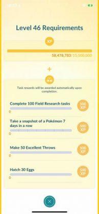 Pokémon GO Level 46 Requirements