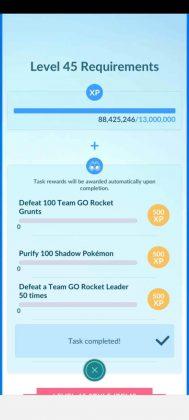 Pokémon GO Level 45 Requirements