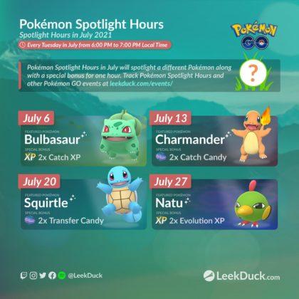 July spotlight hours Pokémon GO