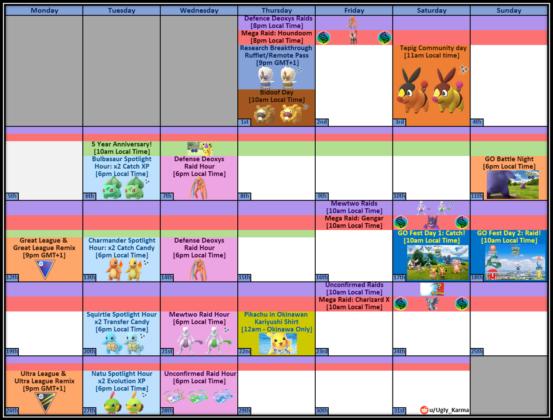 July events calendar Pokémon GO