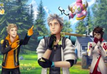 Hoopa, Professor Willow, Spark and Candela stand on a meadow